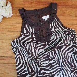 LOFT Zebra Print Dress Brown Size 6